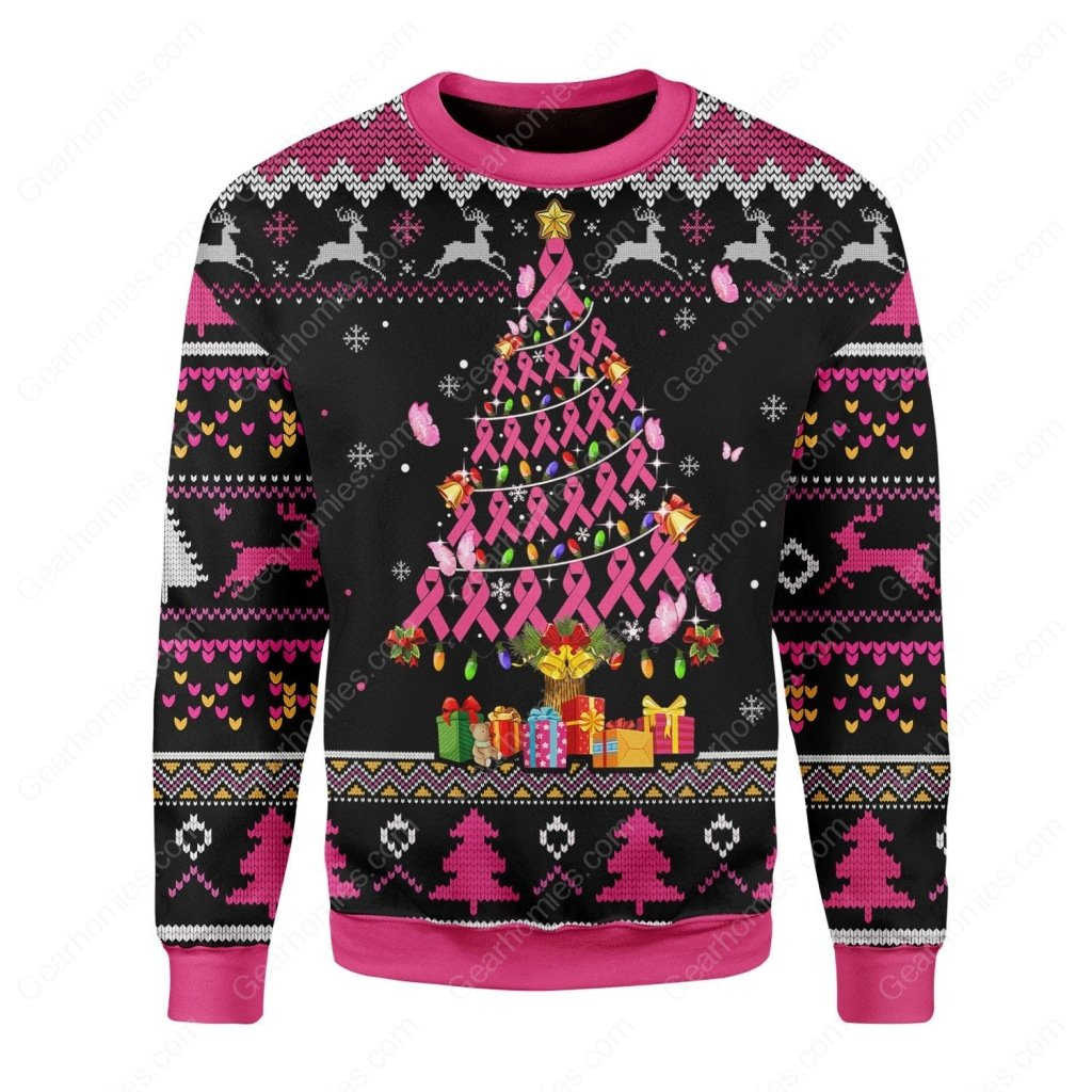 breast cancer awareness all over printed ugly christmas sweater 2