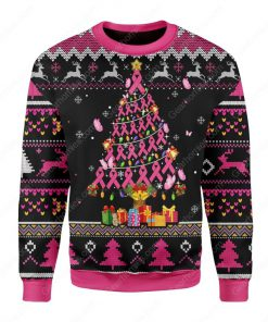 breast cancer awareness all over printed ugly christmas sweater 3