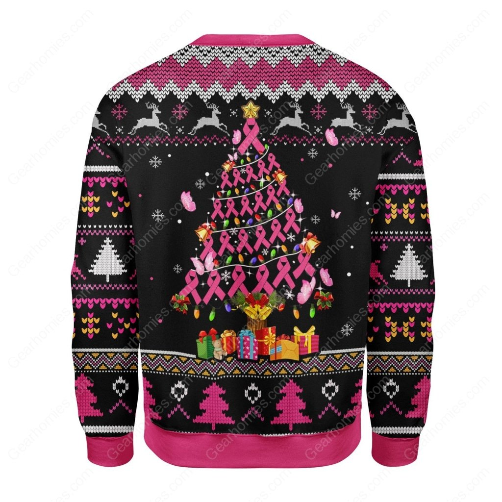 breast cancer awareness all over printed ugly christmas sweater 4
