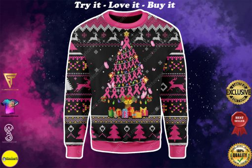 breast cancer awareness all over printed ugly christmas sweater
