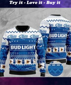 bud light beer all over printed christmas ugly sweater
