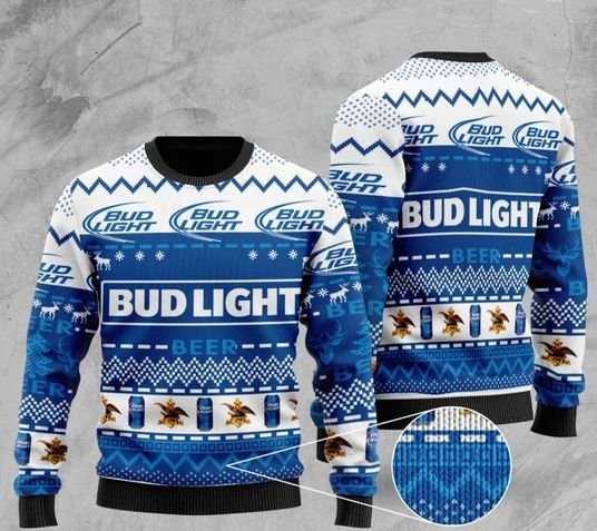 bud light beer pattern full printing christmas ugly sweater 2 - Copy