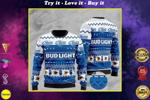 bud light beer pattern full printing christmas ugly sweater