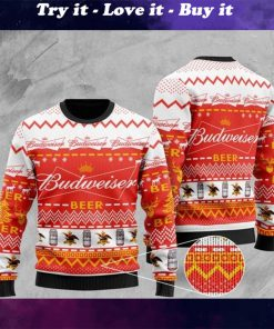 budweiser beer all over printed christmas ugly sweater