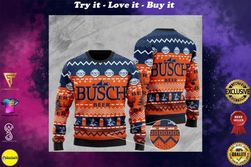 busch light beer all over printed christmas ugly sweater
