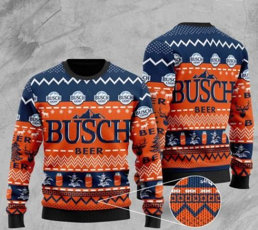busch light beer pattern full printing christmas ugly sweater 2