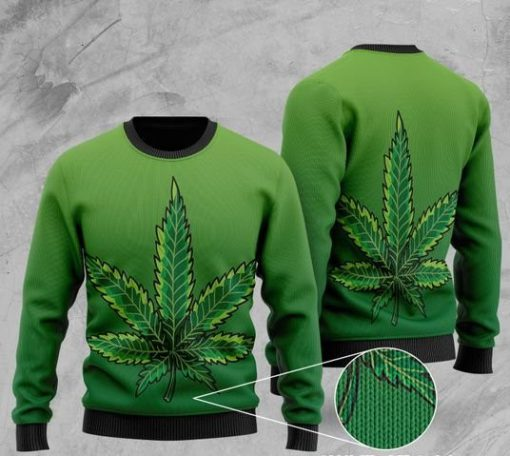 cannabis leaf full printing christmas ugly sweater 2
