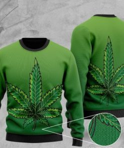 cannabis leaf full printing christmas ugly sweater 2 - Copy