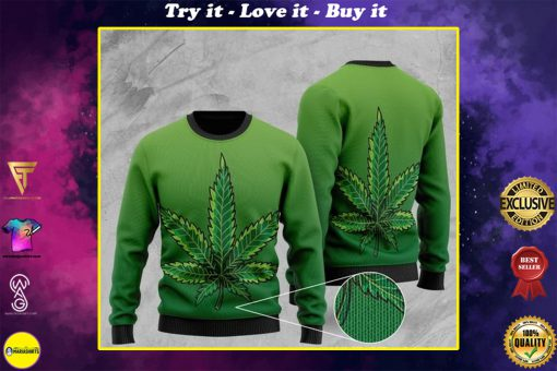 cannabis leaf full printing christmas ugly sweater