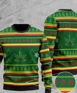 cannabis leaf pattern full printing christmas ugly sweater 2