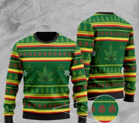 cannabis leaf pattern full printing christmas ugly sweater 2 - Copy (3)