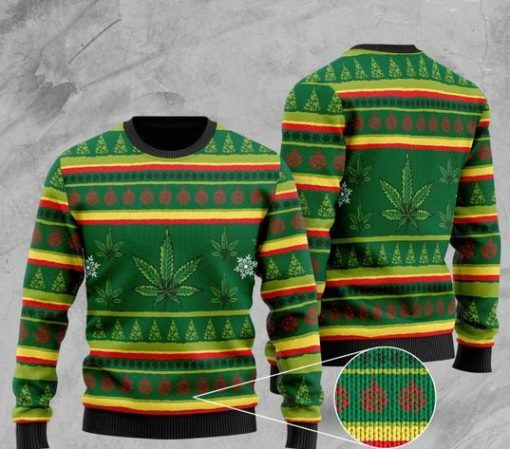 cannabis leaf pattern full printing christmas ugly sweater 2 - Copy
