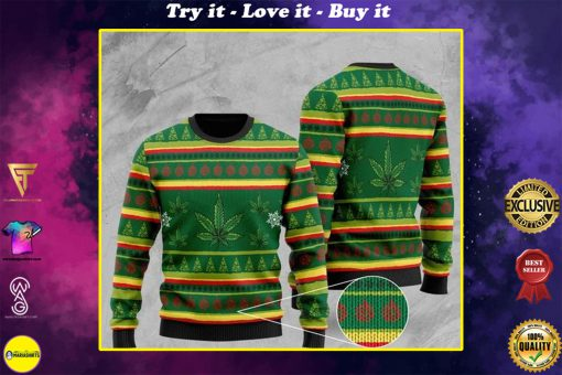 cannabis leaf pattern full printing christmas ugly sweater