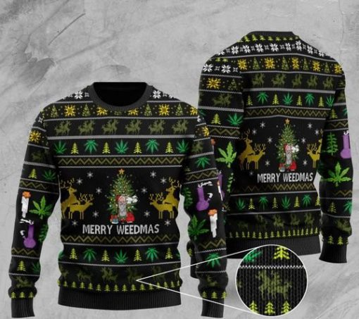 cannabis santa claus and merry weedmas christmas ugly sweater 2 - Copy