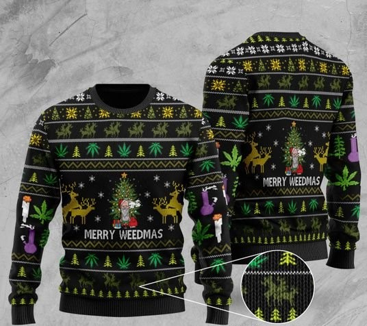 cannabis santa claus and merry weedmas christmas ugly sweater 2