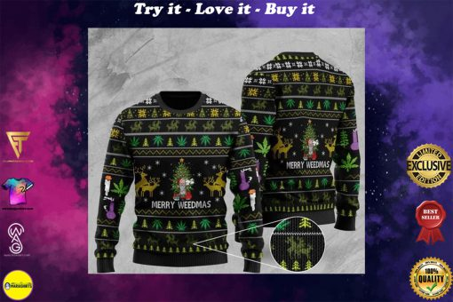 cannabis santa claus and merry weedmas christmas ugly sweater