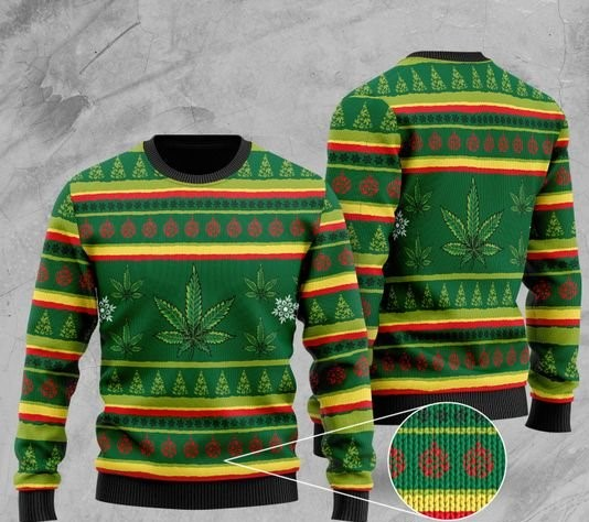 cannabis wool all over printed christmas ugly sweater 2