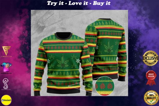 cannabis wool all over printed christmas ugly sweater