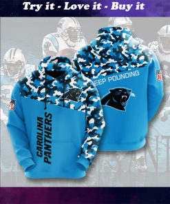 carolina panthers keep pounding camo full printing shirt