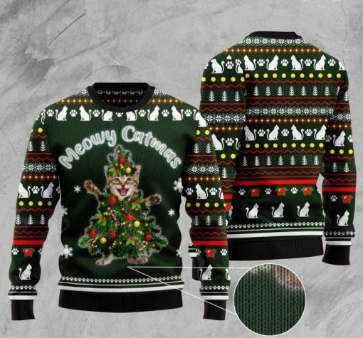 cat meowy catmas pattern full printing christmas ugly sweater 2
