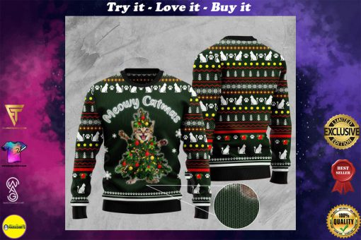 cat meowy catmas pattern full printing christmas ugly sweater