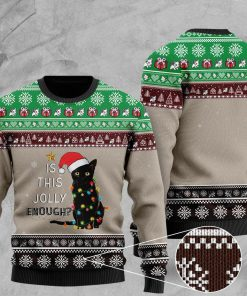 cat with lights christmas is this jolly enough pattern christmas ugly sweater