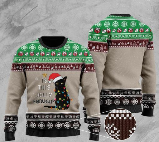 cat with lights christmas is this jolly enough pattern christmas ugly sweater 2 - Copy