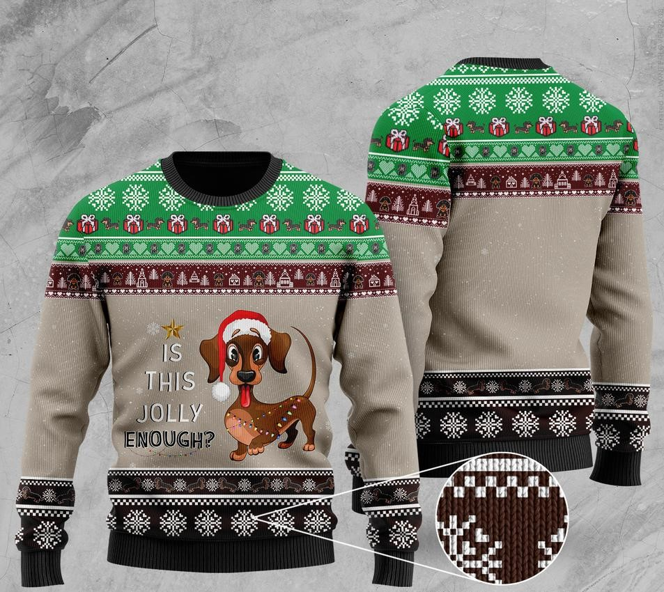 christmas dachshund is this jolly enough pattern ugly sweater 2 - Copy (3)