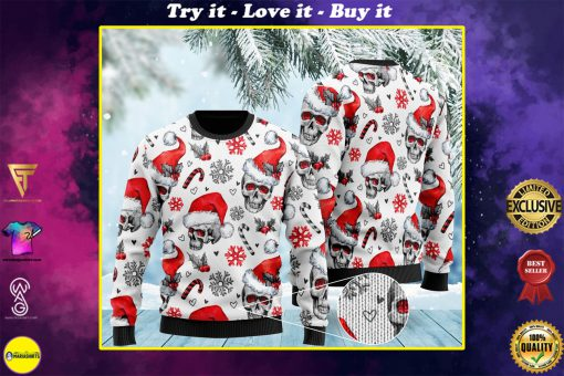 christmas skull pattern full printing ugly sweater