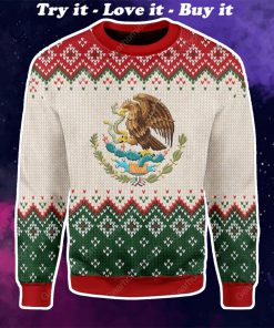 coat of arms of mexico all over printed ugly christmas sweater
