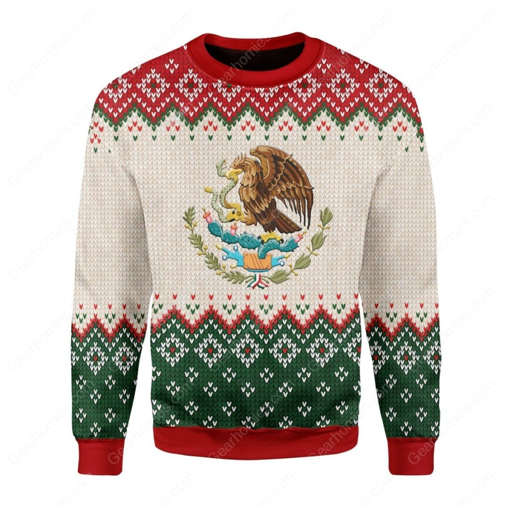 coat of arms of mexico all over printed ugly christmas sweater 3