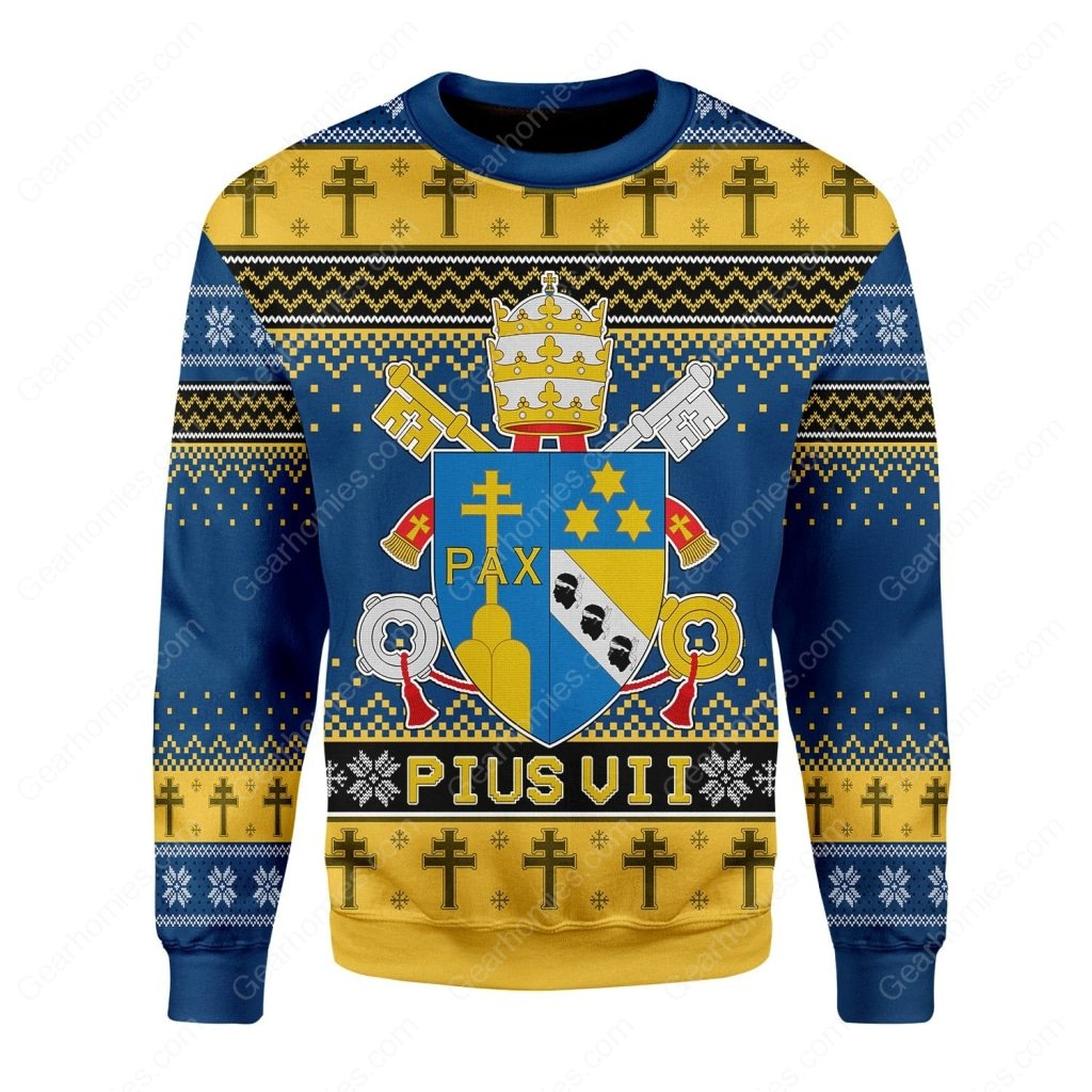 coat of arms of pius vii all over printed ugly christmas sweater 2