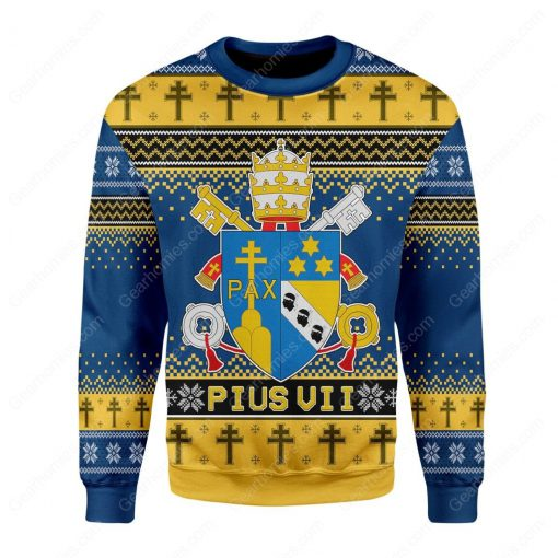 coat of arms of pius vii all over printed ugly christmas sweater 3
