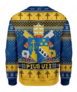 coat of arms of pius vii all over printed ugly christmas sweater 4