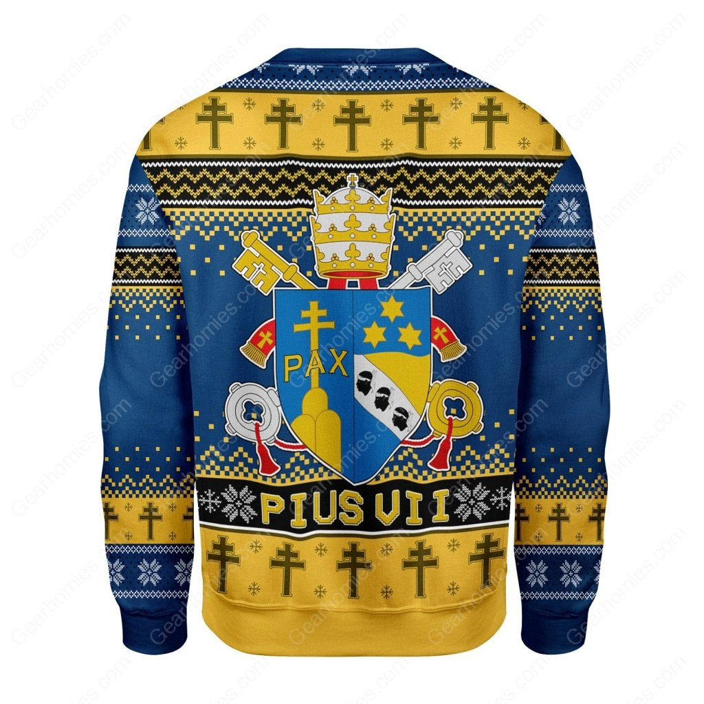 coat of arms of pius vii all over printed ugly christmas sweater 5