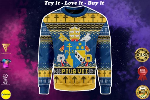 coat of arms of pius vii all over printed ugly christmas sweater