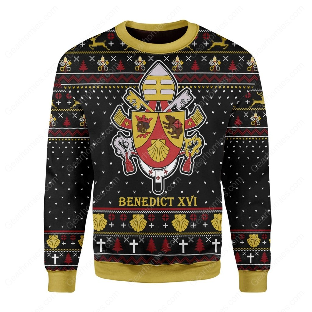 coat of arms of pope benedict xvi all over printed ugly christmas sweater 3