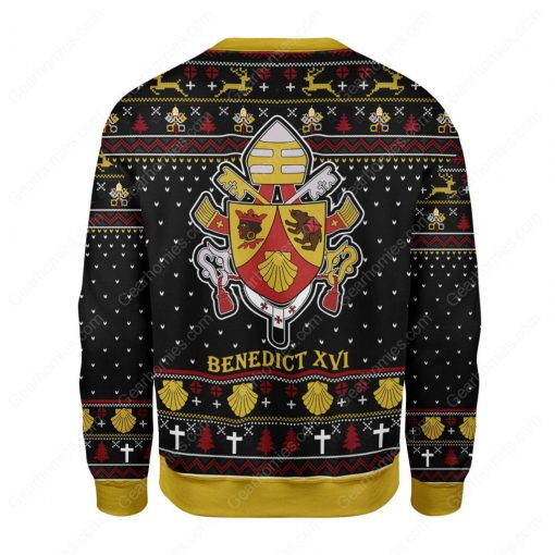 coat of arms of pope benedict xvi all over printed ugly christmas sweater 4