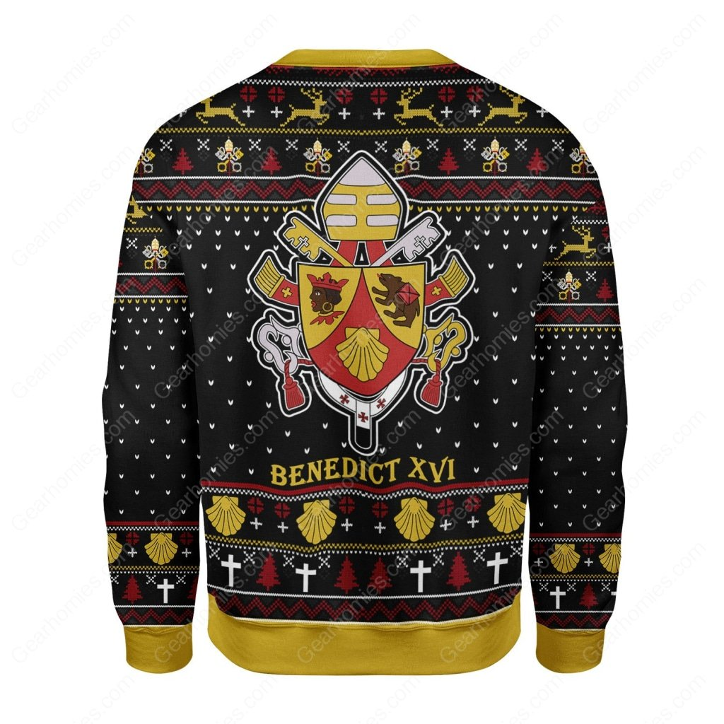 coat of arms of pope benedict xvi all over printed ugly christmas sweater 5