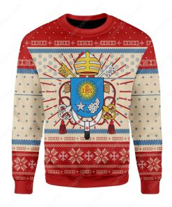 coat of arms of pope francis all over printed ugly christmas sweater 2