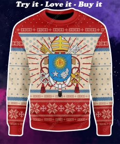 coat of arms of pope francis all over printed ugly christmas sweater