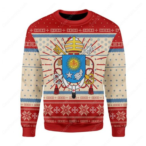 coat of arms of pope francis all over printed ugly christmas sweater 3