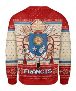 coat of arms of pope francis all over printed ugly christmas sweater 4