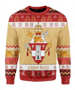 coat of arms of pope john xxiii all over printed ugly christmas sweater 2