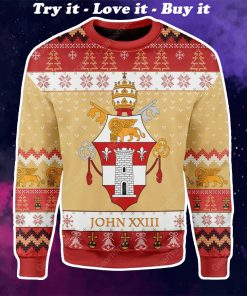 coat of arms of pope john xxiii all over printed ugly christmas sweater