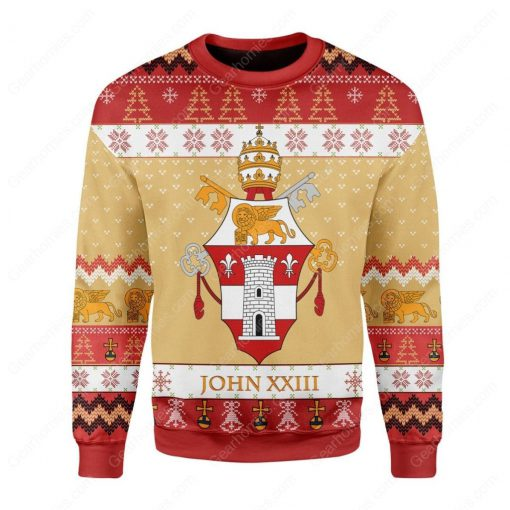 coat of arms of pope john xxiii all over printed ugly christmas sweater 3