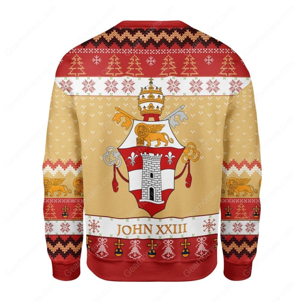 coat of arms of pope john xxiii all over printed ugly christmas sweater 4