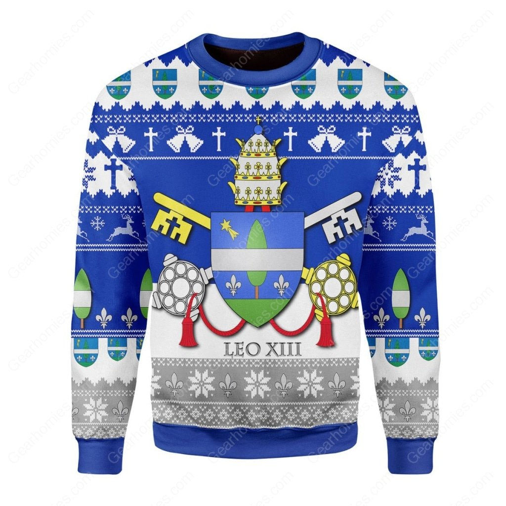 coat of arms of pope leo xiii all over printed ugly christmas sweater 2