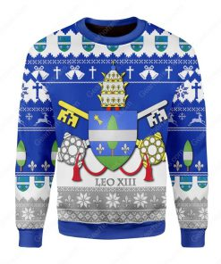coat of arms of pope leo xiii all over printed ugly christmas sweater 3