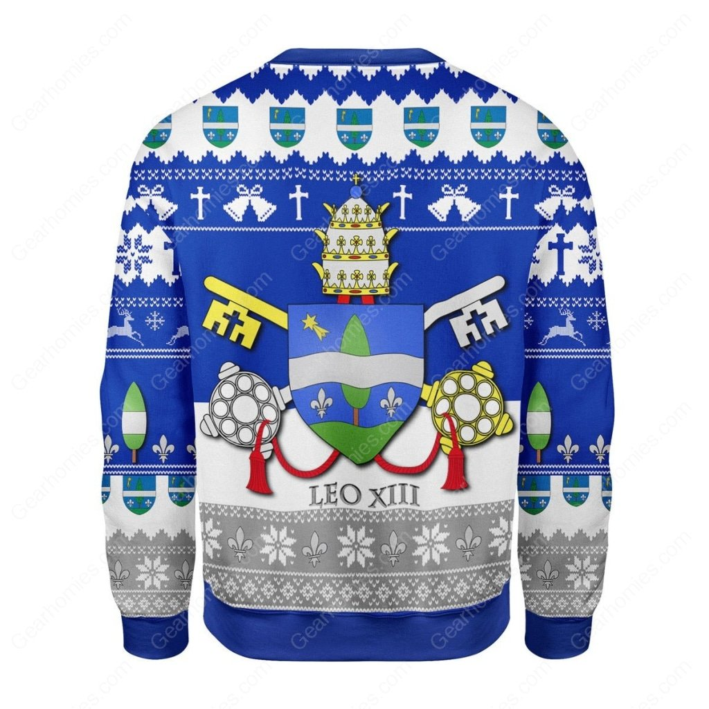 coat of arms of pope leo xiii all over printed ugly christmas sweater 4